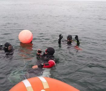 3 divers ready to descend